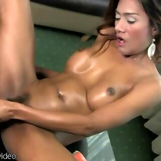 Ladyboy with solid bigtits blasts cum while toying her ass