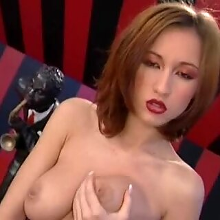 Busty Brunette Carmen plays with her pussy