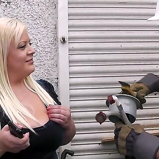 Fat blonde rides cock after big tits-fucking