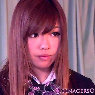 Stunning japanese schoolgirl tasting her creampie