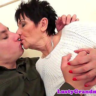 Creampied granny rides cock passionately