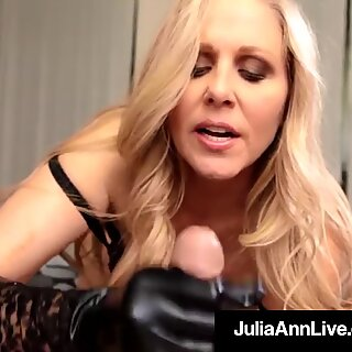 cougar of the year Julia Ann Dons ebony Gloves To Milk A Cock!
