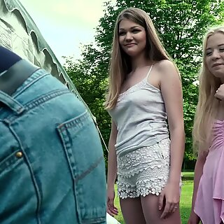 2 petite teens both fuck grandpa the girls suck his cock and get pussy lick