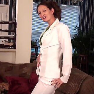 Naughty American housewife and her shaved pussy