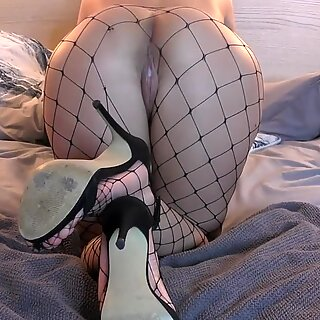 boned My best Friends Wife Downward Doggystyle - Creampied Fishnet stocking