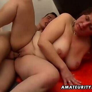 Chubby amateur wife sucks and fucks in her bathroom