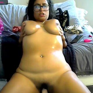Latina bbw oiling tits and riding dildo